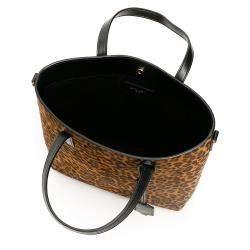 Saint Laurent Leopard Suede North/South Toy Shopping Bag