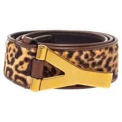 Yves Saint Laurent Brown Animal Print Calf Hair Y Buckle Belt 90CM