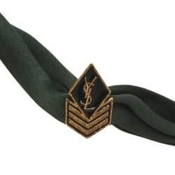 Yves Saint Laurent Logo Medallion Olive Green Satin Silk Choker