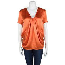 Yves Saint Laurent Orange Silk Draped Front Short Sleeve Blouse M