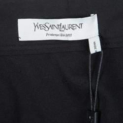 Yves Saint Laurent SS'11 Black Cotton Contrast Ruffle Detail Wrap Skirt M