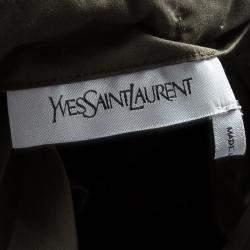 Yves Saint Laurent Olive Green Tie Detail Off Shoulder Belted Safari Top M