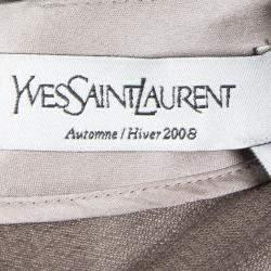 فستان سان لوران إيف حرير كتل لونية حافة واسعة بلا أكمام M