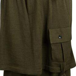 Yves Saint Laurent Olive Green Wool Button Front Layered Skirt S