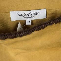 Yves Saint Laurent Paris Mustard Suede Contrast Trim Skirt S