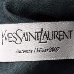 Yves Saint Laurent Paris Blue Knit Animal Pattern Textured Dress M