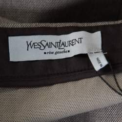 Yves Saint Laurent Paris Brown and White Textured Cotton Pencil Skirt L