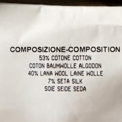 Yves Saint Laurent Beige Textured Wool Blend Cutout Detail Wrap Dress M