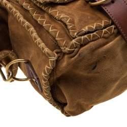 Saint Laurent Paris Brown Stitches Suede And Leather Shoulder Bag