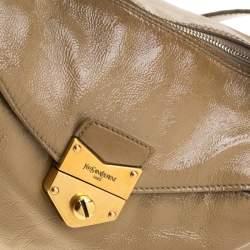 Saint Laurent Paris Beige Patent Leather Satchel