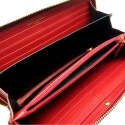 Yves Saint Laurent Red Leather Ligne Y Zipper Wallet