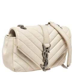 Saint Laurent Paris White Leather Monogram Baby Flap Bag
