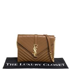 Saint Laurent Tan Matelasse Leather Monogram Chain Clutch