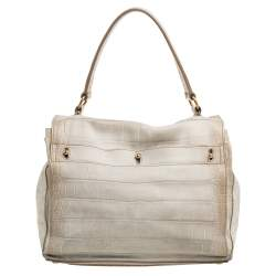 Yves Saint Laurent Cream Croc Embossed Leather Medium Muse Two Satchel