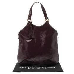 Yves Saint Laurent Burgundy Glazed Leather Small Tribute Tote