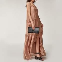 Yves Saint Laurent Dark Brown Patent Leather Belle de Jour Flap Clutch
