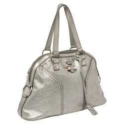 Yves Saint Laurent Metallic Silver Textured Leather Muse Bag