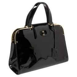 Yves Saint Laurent Black Patent Leather Large Uptown Satchel
