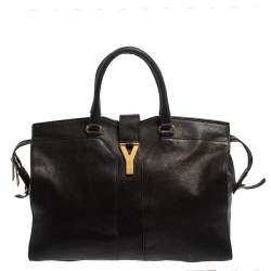 Yves Saint Laurent Black Leather Large Cabas Chyc Tote