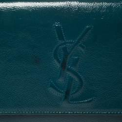 Yves Saint Laurent Teal Blue Patent Leather Belle De Jour Clutch