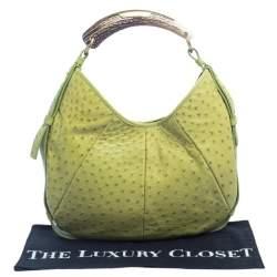Yves Saint Laurent Apple Green Ostrich Mombasa Hobo