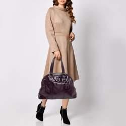 Yves Saint Laurent Burgundy Patent Leather Large Muse Satchel