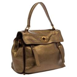 Yves Saint Laurent Metallic Gold Leather and Suede Medium Muse Top Handle Bag