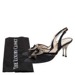 Yves Saint Laurent Blue/Cream Denim And Lizard Leather Heart Slingback Sandals Size 40