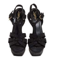 Yves Saint Laurent Black Glitter Suede Tribute Platform Ankle Strap Sandals Size 38.5