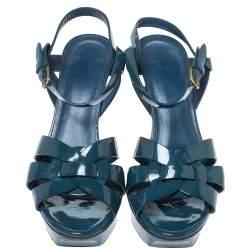 Yves Saint Laurent Teal Patent Leather Tribute Platform Sandals Size 38.5