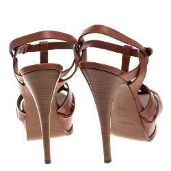 Yves Saint Laurent Brown Wood Effect Leather Tribute Platform Sandals Size 36.5