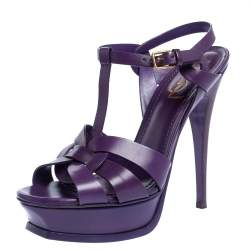 Yves Saint Laurent Purple Leather Tribute Platform Sandals Size 39