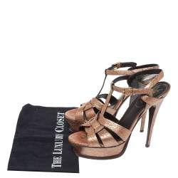 Yves Saint Laurent Metallic Rose Gold Textured Leather Tribute Platform Sandals Size 39