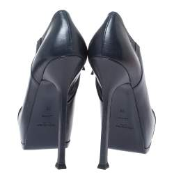 Yves Saint Laurent Navy Blue/Black Leather and Patent Leather Tribute Platform Ankle Boots Size 38