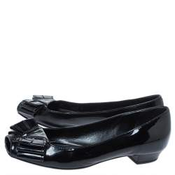 Yves Saint Laurent Black Patent Leather Bow Peep Toe Ballet Flat Size 35