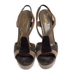 Yves Saint Laurent Tri Color Suede Slingback Platform Sandals Size 40.5