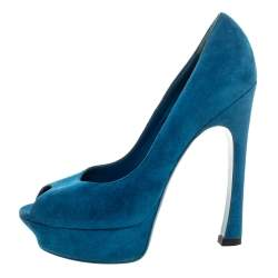 Yves Saint Laurent Teal Blue Suede Palais Platform Peep Toe Pumps Size 39.5