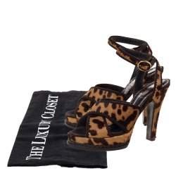 Yves Saint Laurent Brown Leopard Print Calf Hair Criss Cross Ankle Strap Sandals Size 39.5