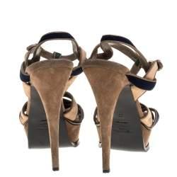 Yves Saint Laurent Tricolor Suede Tribute Platform Sandals Size 39