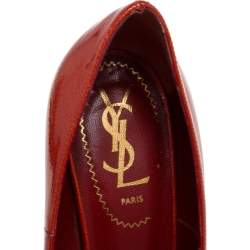 Yves Saint Laurent Red Patent Leather Tribtoo Platform Pumps Size 37.5