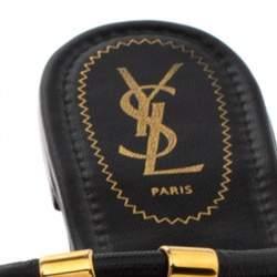 Yves Saint Laurent Black Leather Ycon Thong Flat Sandals Size 39