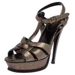 Yves Saint Laurent Metallic Grey Textured Leather Tribute Platform Sandals Size 38