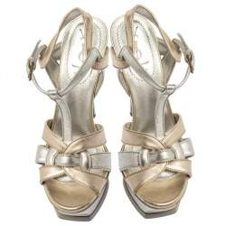 Yves Saint Laurent Metallic Gold/Silver Leather Tribute Platform Sandals Size 37.5