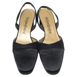 Yves Saint Laurent Black Satin Round Toe Slingback Sandals Size 40