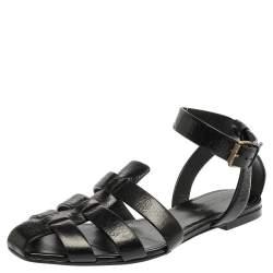 Saint Laurent Paris Black Leather Ankle Strap Flats Size 40.5