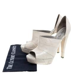 Yves Saint Laurent Grey Leather D'orsay Peep Toe Platform Sandals Size 37.5