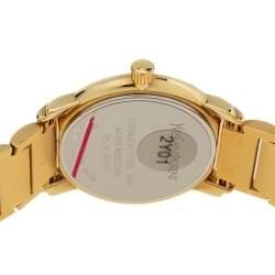 Yves Saint Laurent White Yellow Gold Plated Herrenuhr 2Y01 Unisex Wristwatch 37 mm