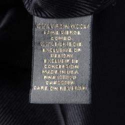 Zac Posen Navy Blue Textured Wool Shetland Knot Dress M