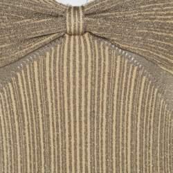 Zac Posen Metallic Peforated Knit Fit and Flare Sleeveless Dress M