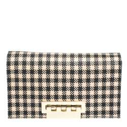 Zac Posen Black/White Gingham Straw and Leather Earthette Clutch